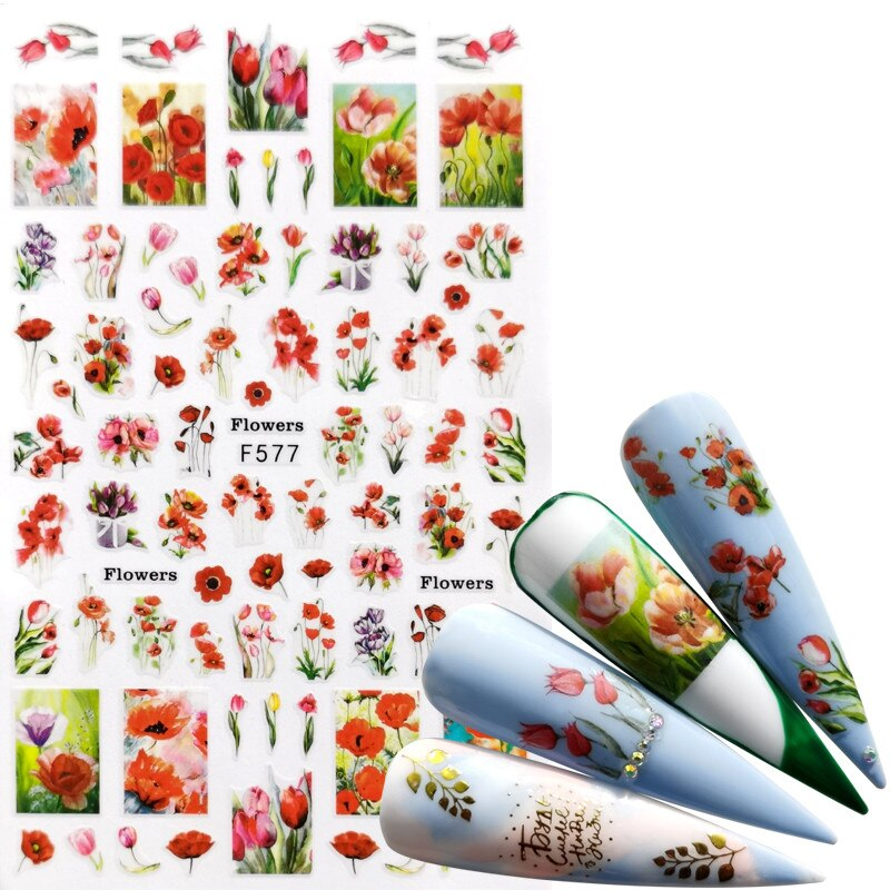 1 PC Mix Flower Nail Stickers  Butterfly 3D Adhesive Sliders Wraps Tips Charm Art Manicure Decorations 1box gold silver mix metal butterfly 3d nail art decorations nail rivets shiny charm strass manicure accessories