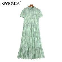 KPYTOMOA Women 2020 Chic Fashion Candy Color Dot Chiffon Pleated Midi Dress Vintage O Neck Short Sleeve Female Dresses Mujer