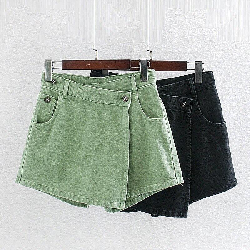 Pantalones cortos de mezclilla asimétricos para Mujer Faldas femeninas de cintura alta botón Mini Denim corto 2020 verano moda negro verde señoras inferior