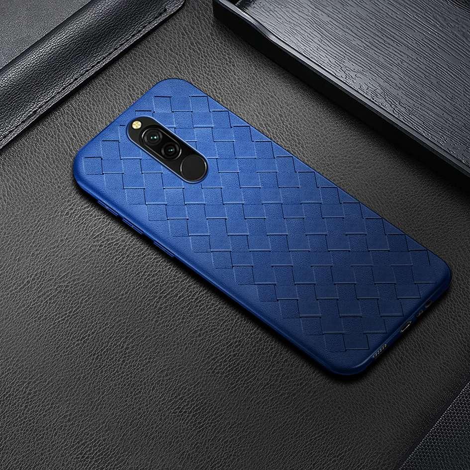Breathable Case For Xiaomi Redmi 8 8A Case Luxury Leather TPU Weaving Grid Cover For Xiaomi Redmi 8A Case Redmi8 Silicone Fundas