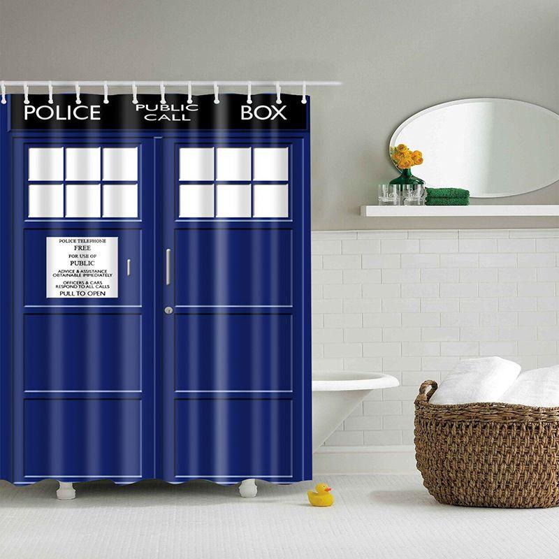 Cortina de tela de poliéster impermeable con estampado 3d de puerta azul para baño, ducha, baño, pantalla, cortina de baño para decoración de baño