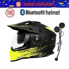 Casque TORC pliable 1 pièce   Casque intégral, double visière, Fiber de carbone, casque Bluetooth sans fil, casque découteur de moto