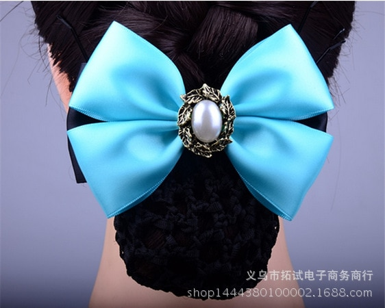Women Boutique Hair Net Hair Clip Flower Korean Bow White Collar Nurse Professional Ribbon Fabric BEAD Handmade Gift FS017