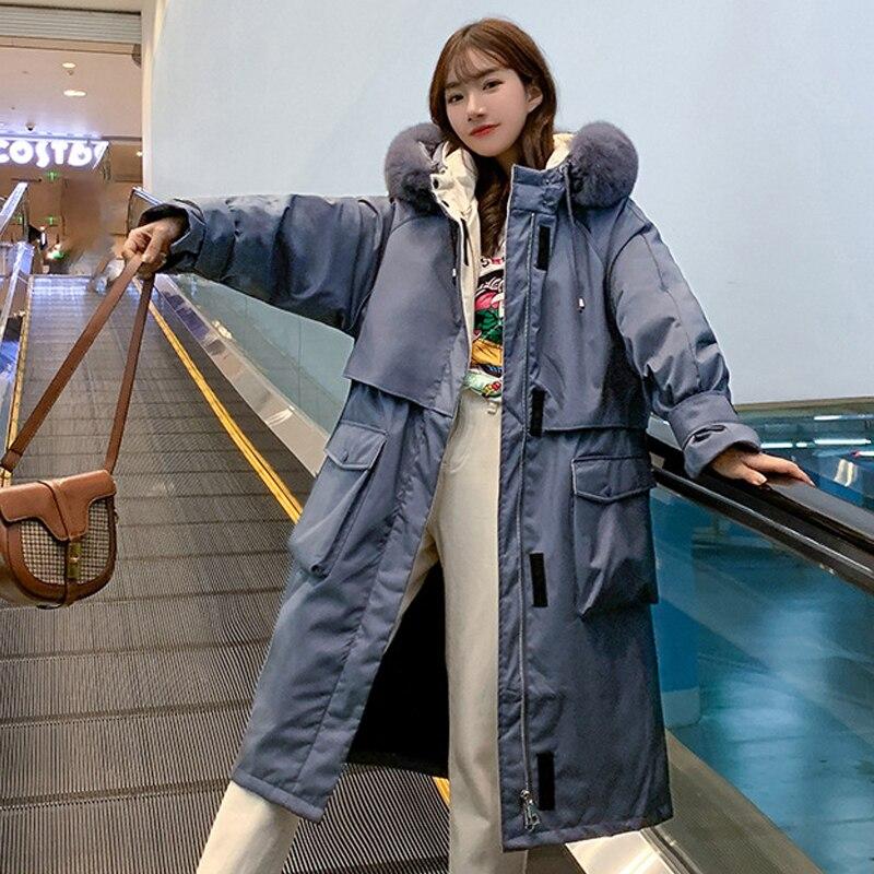 X-Long Winter Jacket For Women Loose Parka Casual Hooded Warm Cotton Padde Coat Female Fur Collar Ou