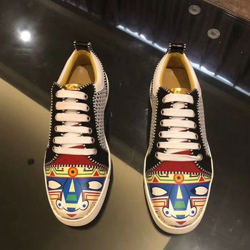 luxury designer Graffiti Fashion Men Shoes Handmade Men Brand Sneakers Breathable Slip-on Party and Wedding Men Casual Shoes