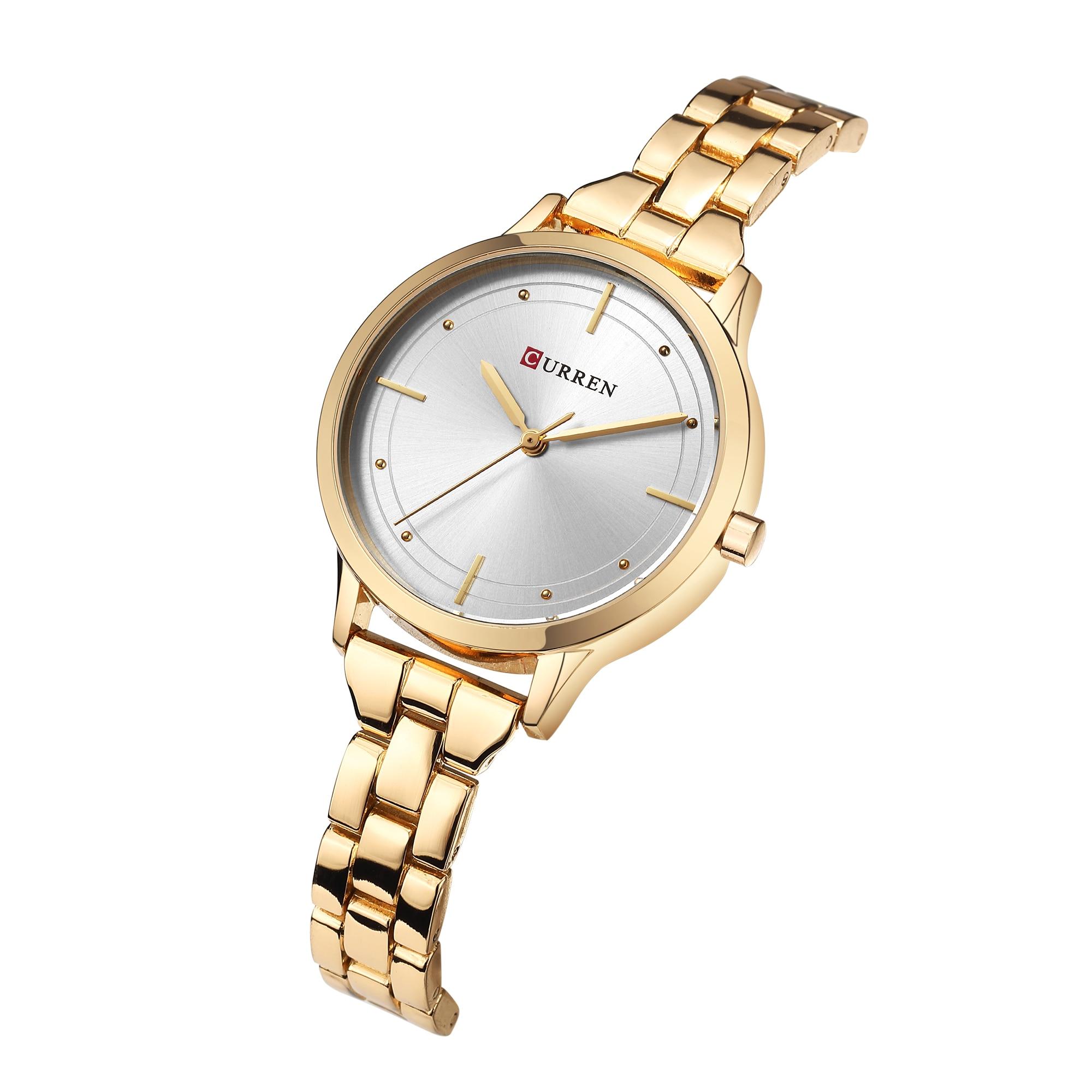 CURREN Female Watch Newest Fashion Design Women Wristwatches Gold Stainless Steel Quartz Relogio Waterproof Relojes Para Mujer