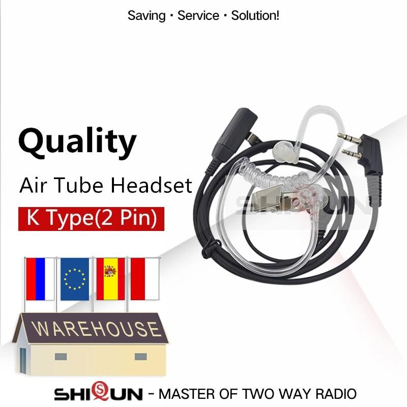 Walkie Talkie PTT MIC auricular Para KENWOOD $TERM impacto BAOFENG UV-5R accesorios BF-888s UV-82 TG-UV2 Plus acústico auriculares tubo de aire UV-5RA