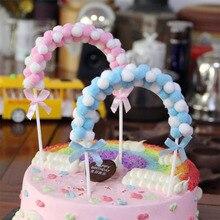 1 ud. Rosa azul suave pompón nube torta Topper Baby Shower cumpleaños DIY torta Top banderas decoración para fiestas suministros