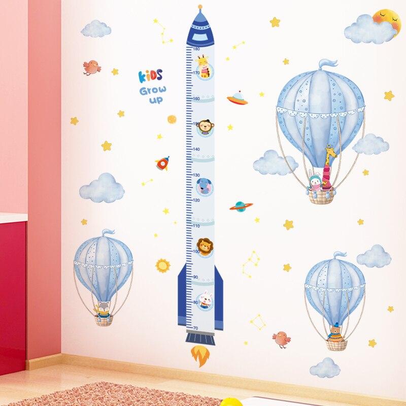 [Shijuekongjian] pegatinas de pared de globos aerostáticos, pegatinas de pared de Cohete De Dibujos Animados DIY para habitación de niños, decoración de dormitorio de bebé