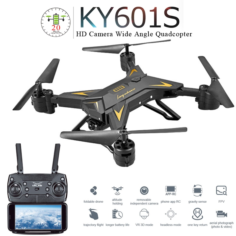 Ky601s drone profissional dobrável, com câmera 5mp hd wifi fpv grande angular altitude hold rc quadcopter helicóptero brinquedo e58 sg106