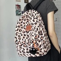 unisex leopard print style backpack fashionable contrast color nylon travel backpack casual and simple student school backpack