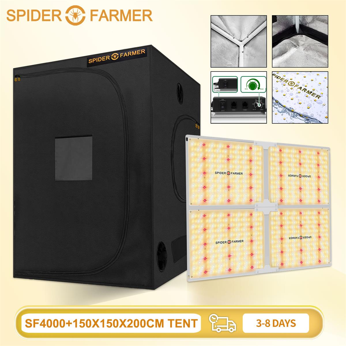 Spider Farmer SF 4000 Samsungled LM301B  Led Grow Light Dimmable and 150x150 Reflective Aluminum Grow Tent for Indoor Plants