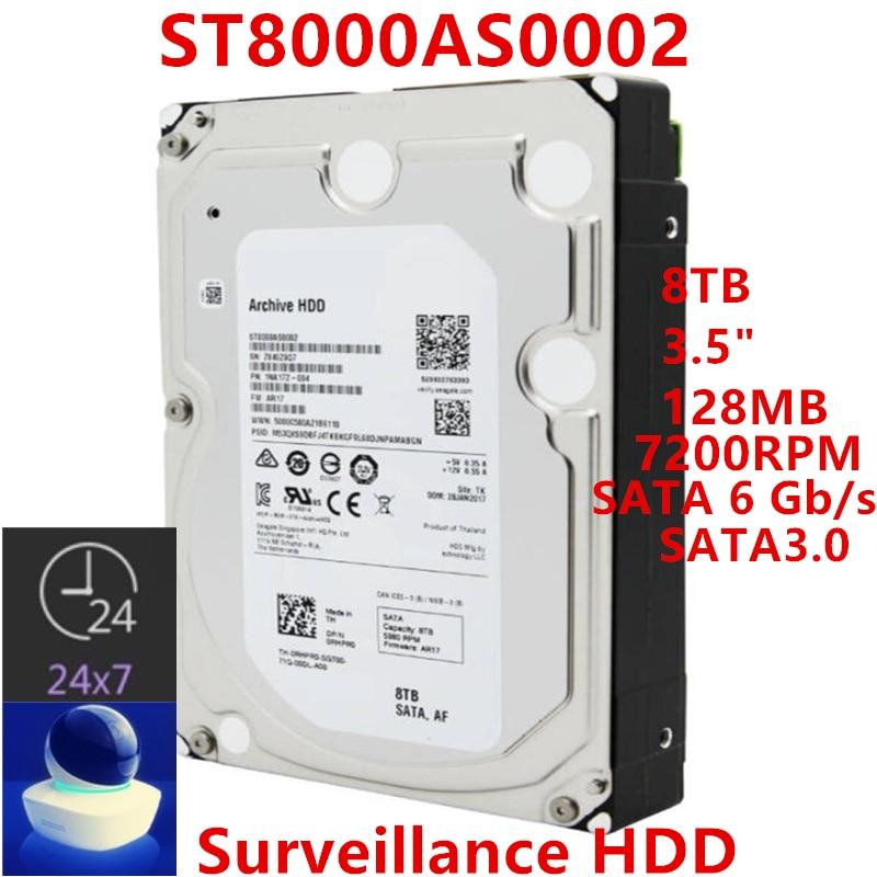 "Novo hdd para seagate marca 8tb 3.5 ""sata 6 gb/s 128mb 7200rpm para disco rígido interno para vigilância hdd para st8000as0002"