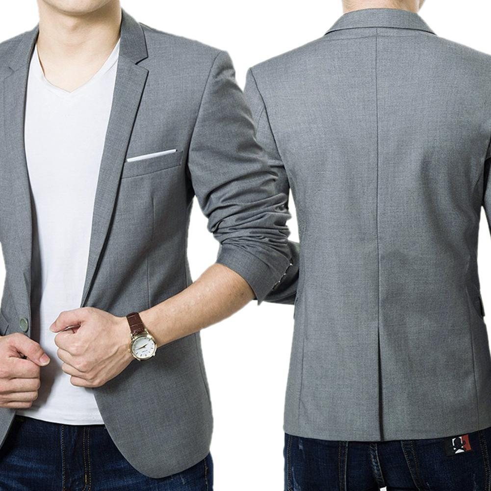 New Office Blazer Jacket Fashion Solid Mens Suit Men's Slim Formal Business Suit Coat One Button Lap
