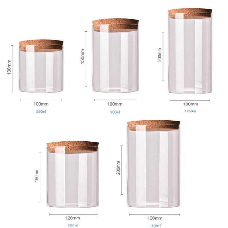 Tarro De Vidrio De 9 Tamaños Con Tapa Columna De Corcho Frasco Hermético Frascos De Botellas De Almacenamiento Granos Hoja De Té Granos De Café Granos De Caramelo Tarro De Comida Botellas Y