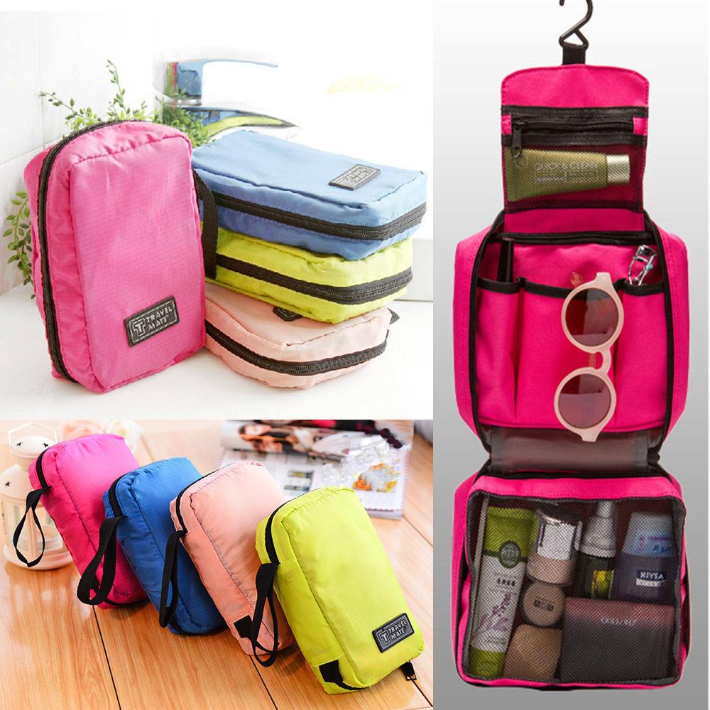 Neceser de viaje para mujer, organizador plegable para cosméticos estuche para maquillaje, organizador portátil para Camping al aire libre