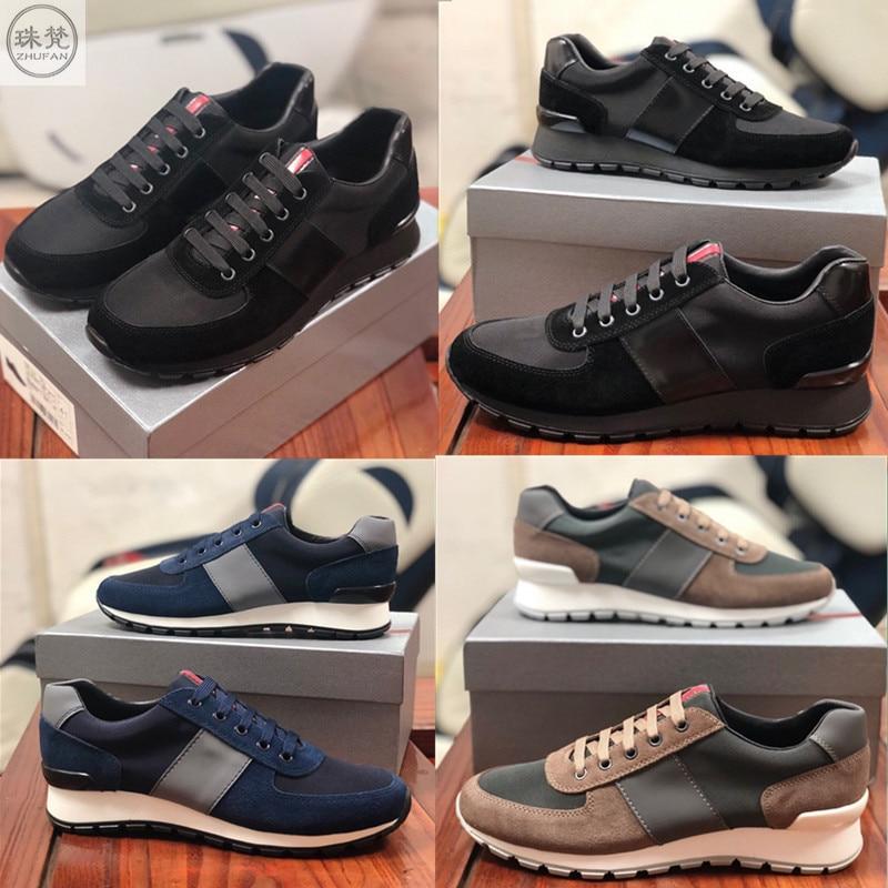 2021 مصمم رجالي حذاء كاجوال جودة عالية حصى الربط النايلون النسيج الرجال صافي القماش أحذية رياضية أحذية أنيقة جلد البقر نعل حجم