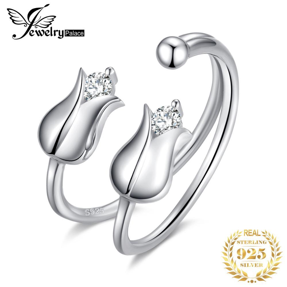 JewelryPalace السعادة زهرة زنبق الوادي زركون المفتوحة للتعديل الدائري 925 فضة خاتم مجوهرات الأزياء