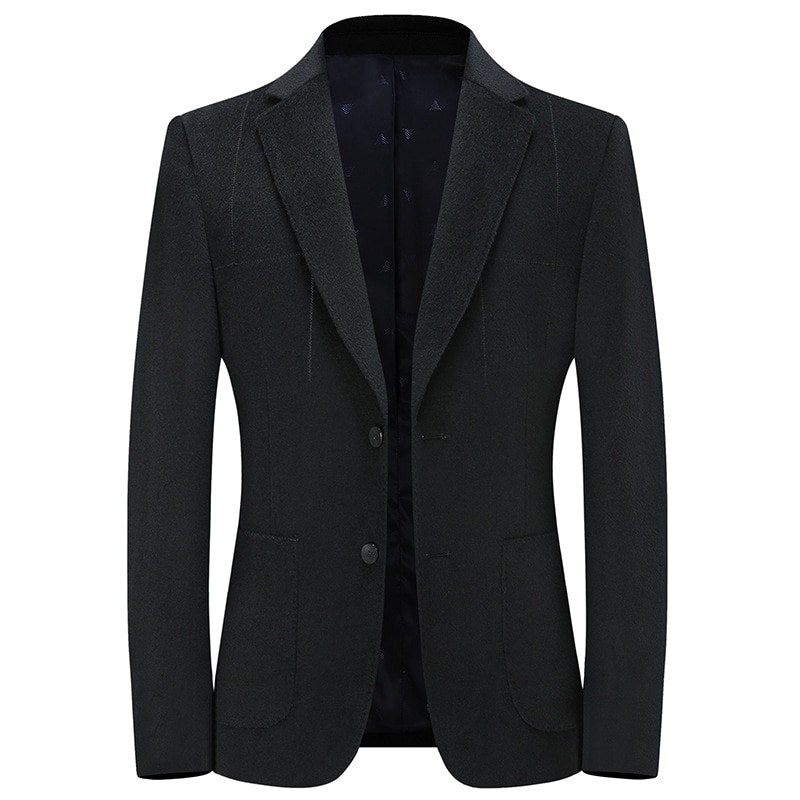 Autumn and Winter Men's Business Leisure Pure Color Wool Cashmere Small Suit Coat Father's Suit