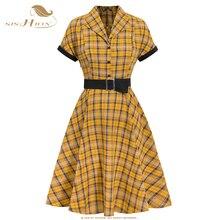 SISHION casual dress jurken Short Sleeve Yellow Plaid Dress VD1331 2020 Summer Swing Rockabilly 50s Vintage Dress with Belt