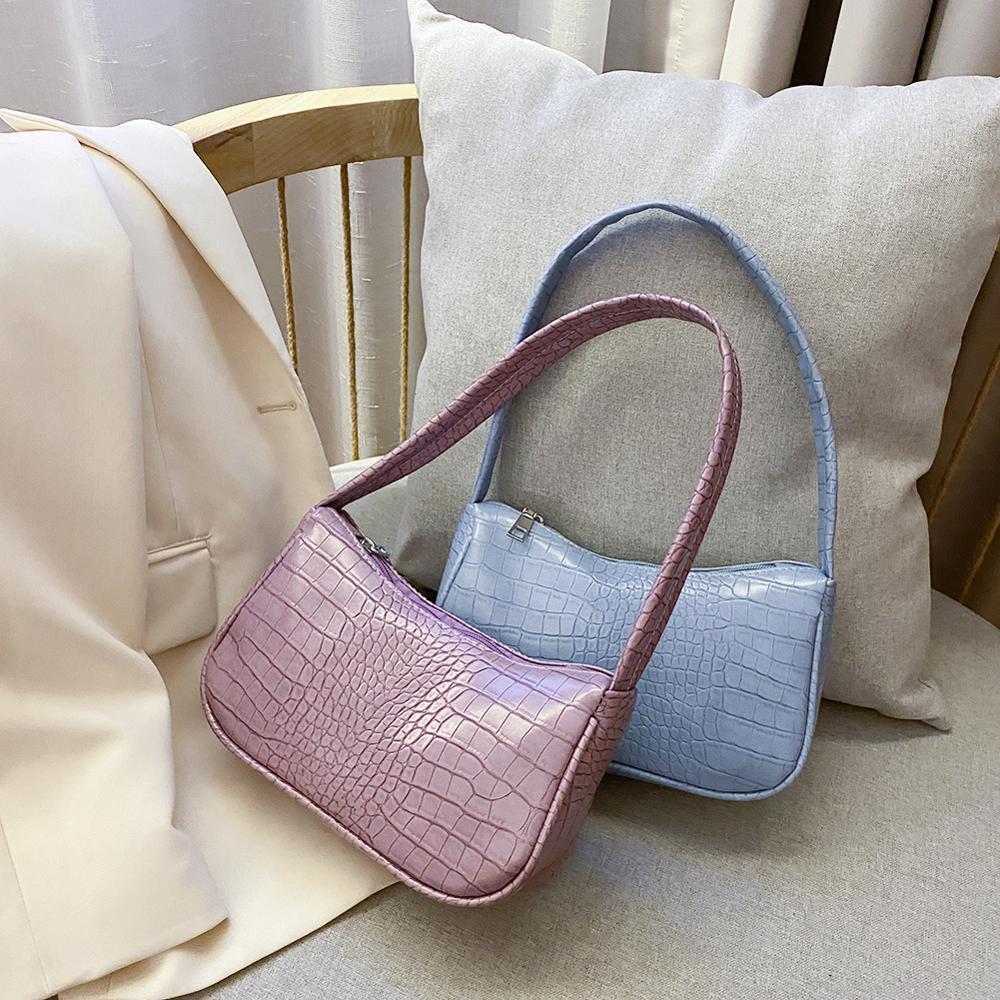 2021 Women Casual Shoulder Messenger Bags PU Leather Retro Alligator PU Leather Handbag Women Casual Zipper Totes Shoulder Bags