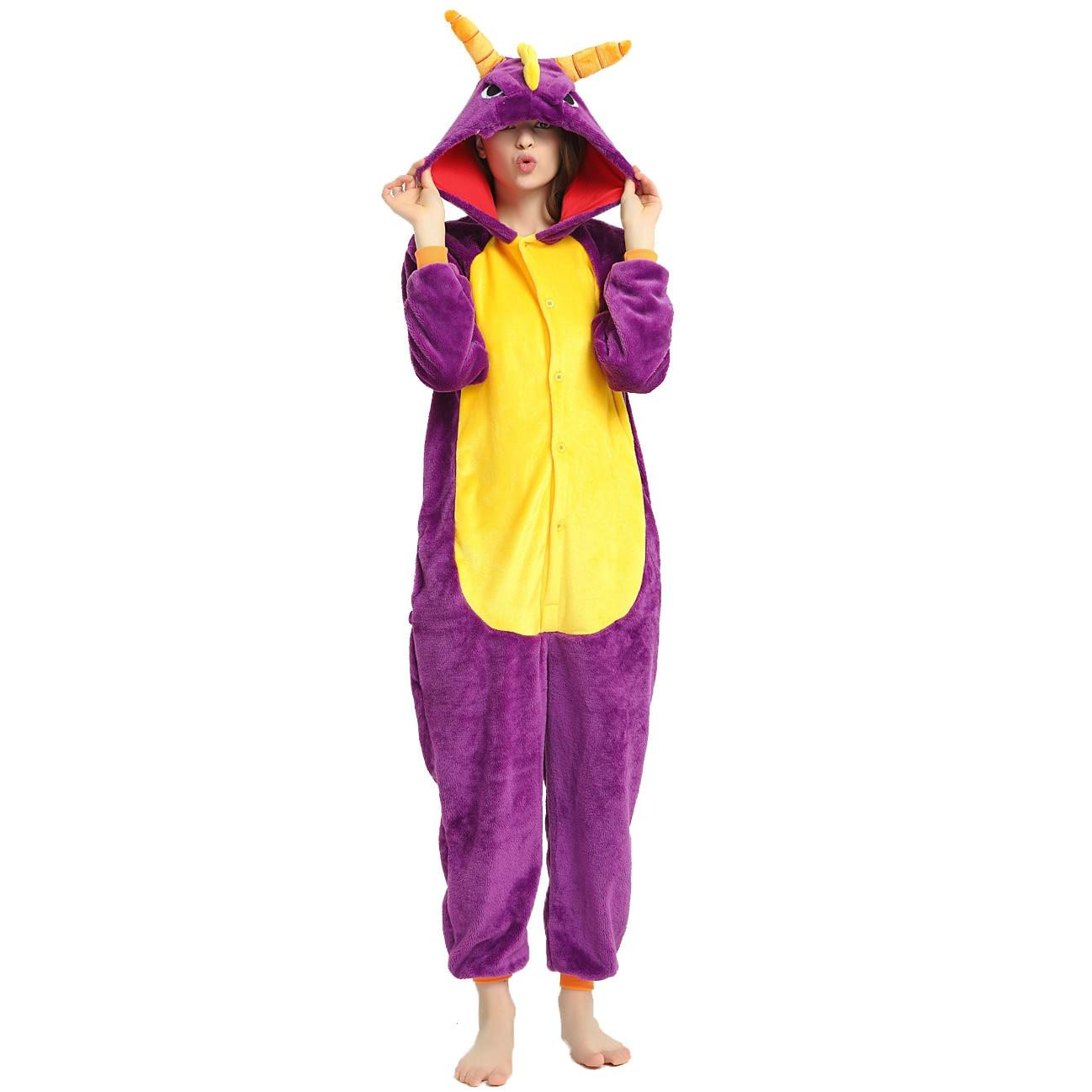 Spyro Onesies disfraces de invierno Anime Stitch Unicornio Onesies mujeres hombres ropa de dormir Unicornio Pijima adultos pijamas de franela