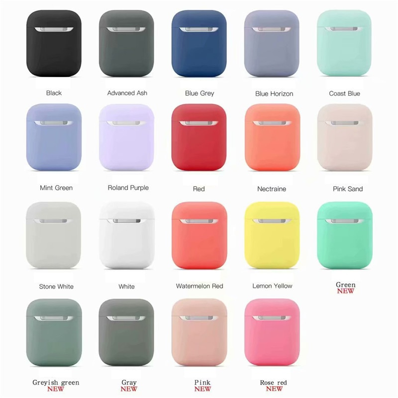 Funda protectora Kjoew de silicona de Color sólido para funda de AirPods de Apple