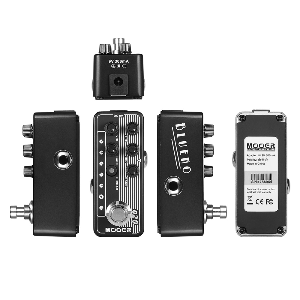 Mooer Effects Pedal Electric Guitars Pedalboard 020 Blueno Micro Preamp Dual Channe Digital Preamp Speaker Cabinet Simulation enlarge