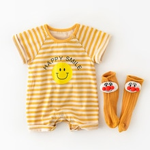 Yg brand children's wear summer new cute smile face short sleeve bag fart clothes baby short creepin