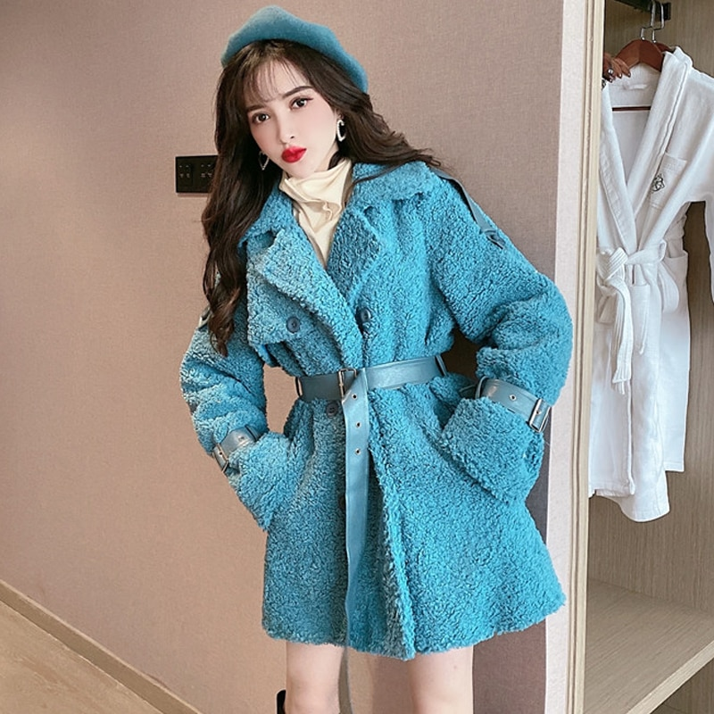 Ropa De invierno para Mujer, diseño De varias telas con cuero, cinturón...