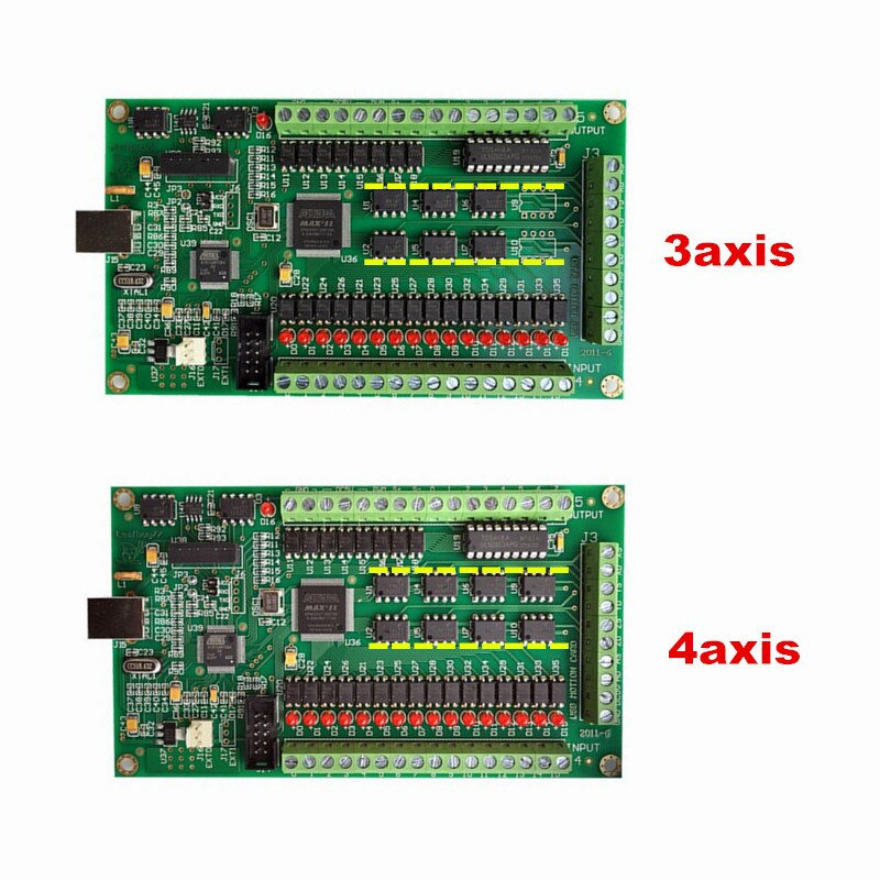 Controlador de movimiento CNC de 3 ejes de 4 ejes tarjeta USB Mach3 200KHz interfaz de placa de adaptación