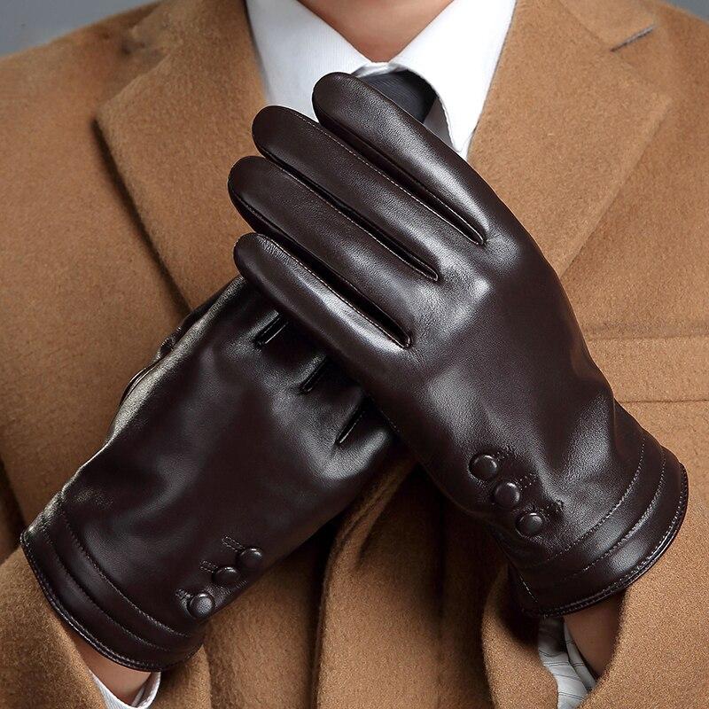 Перчатки из натуральной кожи мужские зимние теплые для вождения плюс бархатные мужские перчатки из овчины перчатки для сенсорного экрана ...