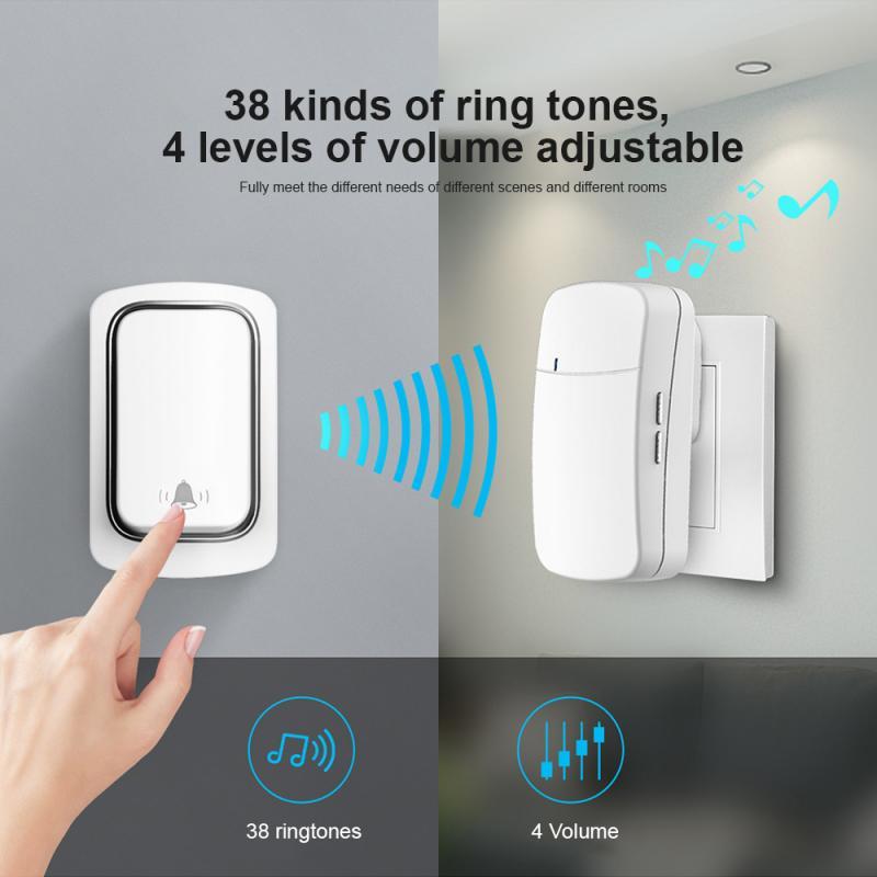 Wireless Doorbell 433Mhz Self Power Home Welcome Smart Doorbell 150M Long Wireless Distance 38 Songs Home Welcome Door Chimes enlarge
