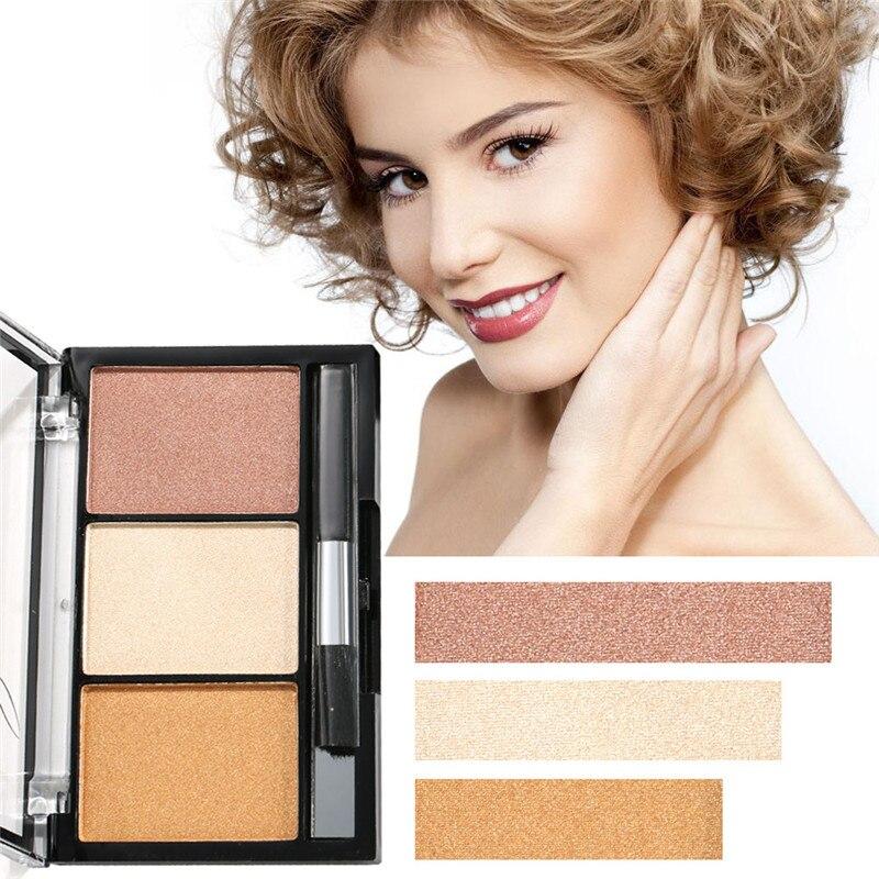 Paleta de 3 colores para mujer, Cara de bronceador, iluminador, maquillaje Natural, sombra de nariz, brillo de polvo