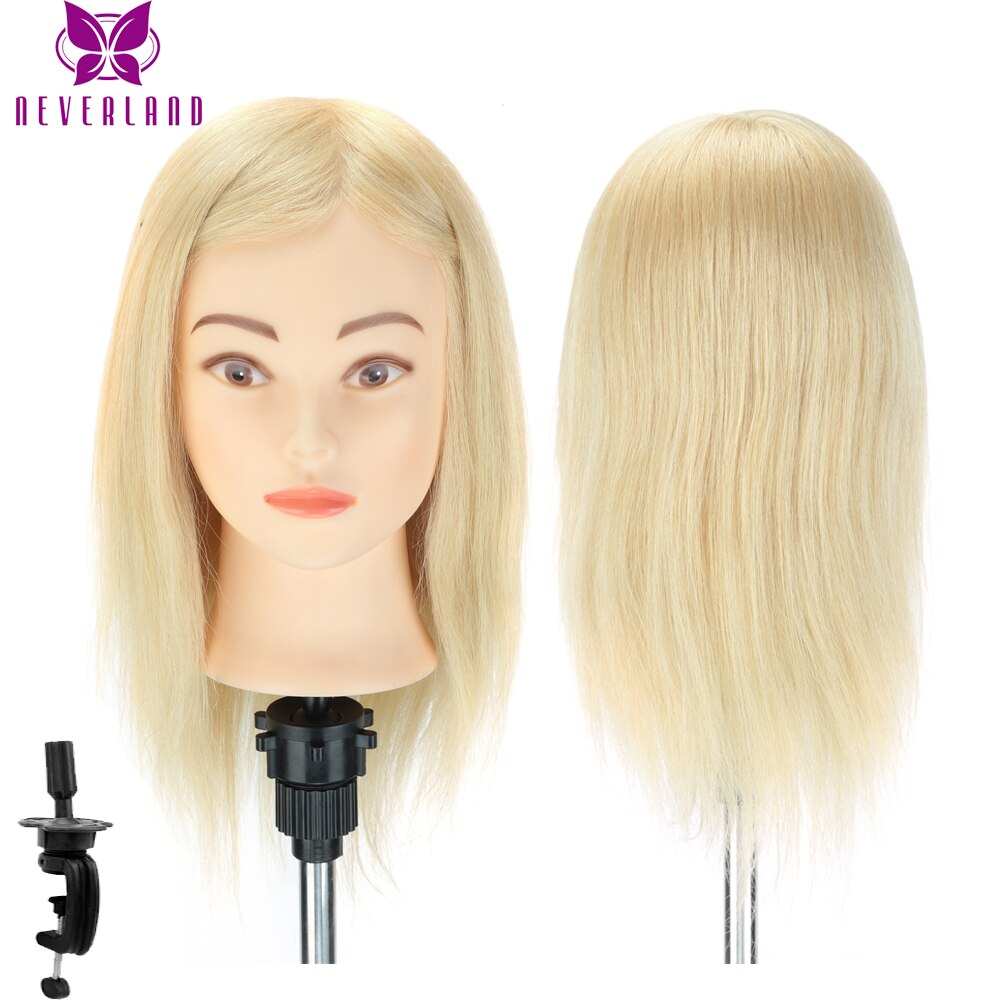 100% Real Human Hair Hairdressing Mannequin Head Doll Head for Hairstyles Hairdressers Curling Practice Training Head with Clamp