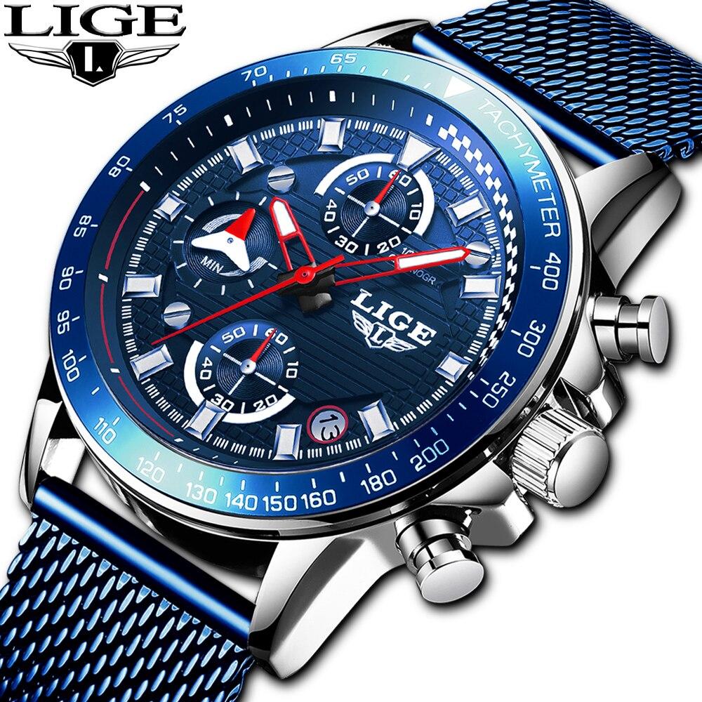 Relojes LIGE 2019 para hombre, relojes de lujo a prueba de agua, reloj de cuarzo, reloj deportivo para hombre, reloj para hombre, dropshipping