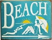 vintage beach tin metal sign summer ocean florida pool water park swimming tan bar restaurantation outdoor indoor wall panel