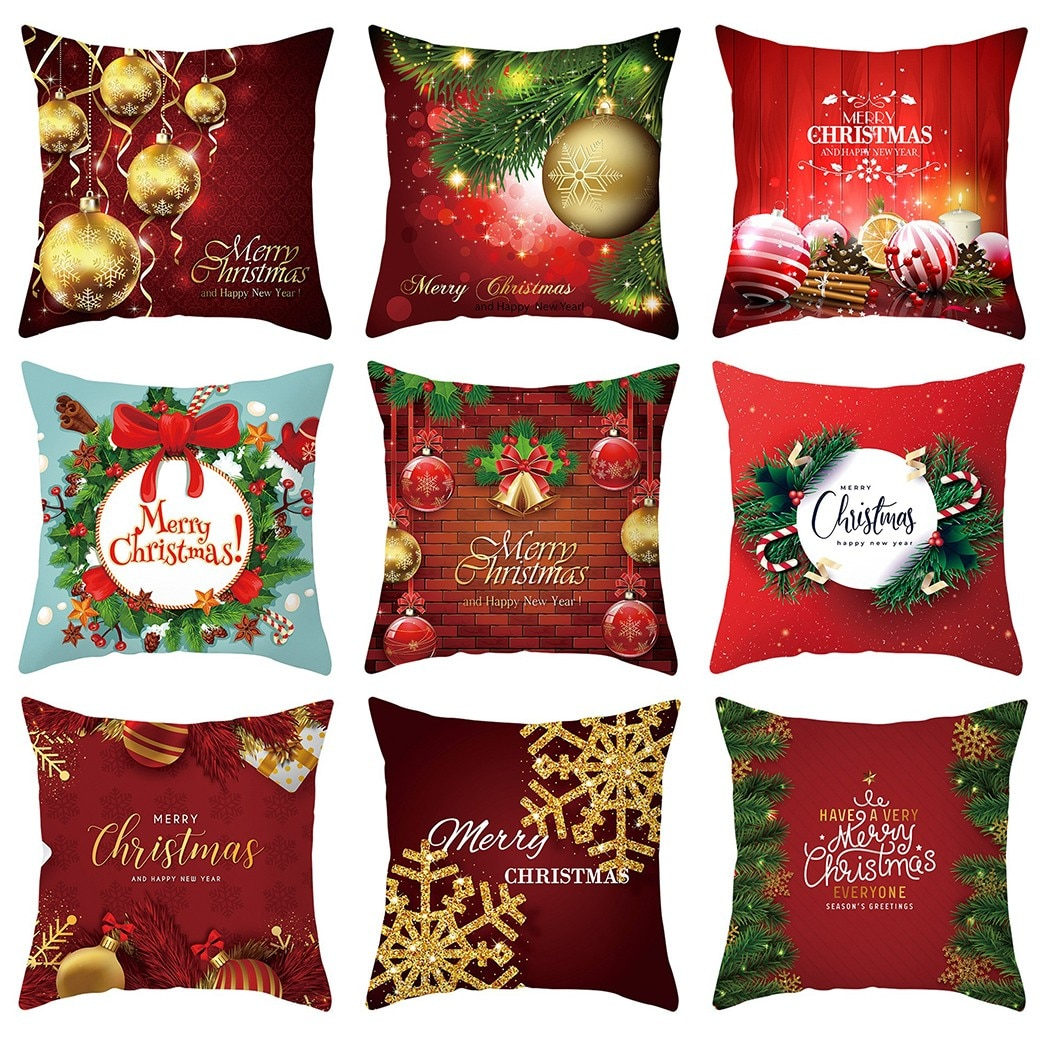 merry christmas cushion cover christmas decorations for home happy new year decor christmas ornament cotton linen pillow cover pillowcase 45cm x 45cm Christmas Cushion Cover Merry Christmas Decorations For Home 2021 Christmas Ornament Navidad Noel Xmas Gifts Happy New Year 2022