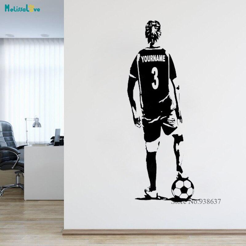 Personalizado futebol futebol adesivo feminino menina ponytai nome personalizado e números jérsei parede arte esportes decoração da parede adesivos ba310