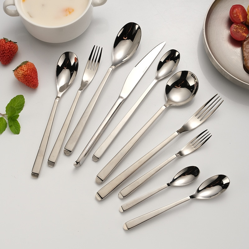 10Pcs Dinnerware Set 304 Stainless Steel Cutlery Set Kitchen Mirror Gold Silver Color Knife Fork Spoon Tableware