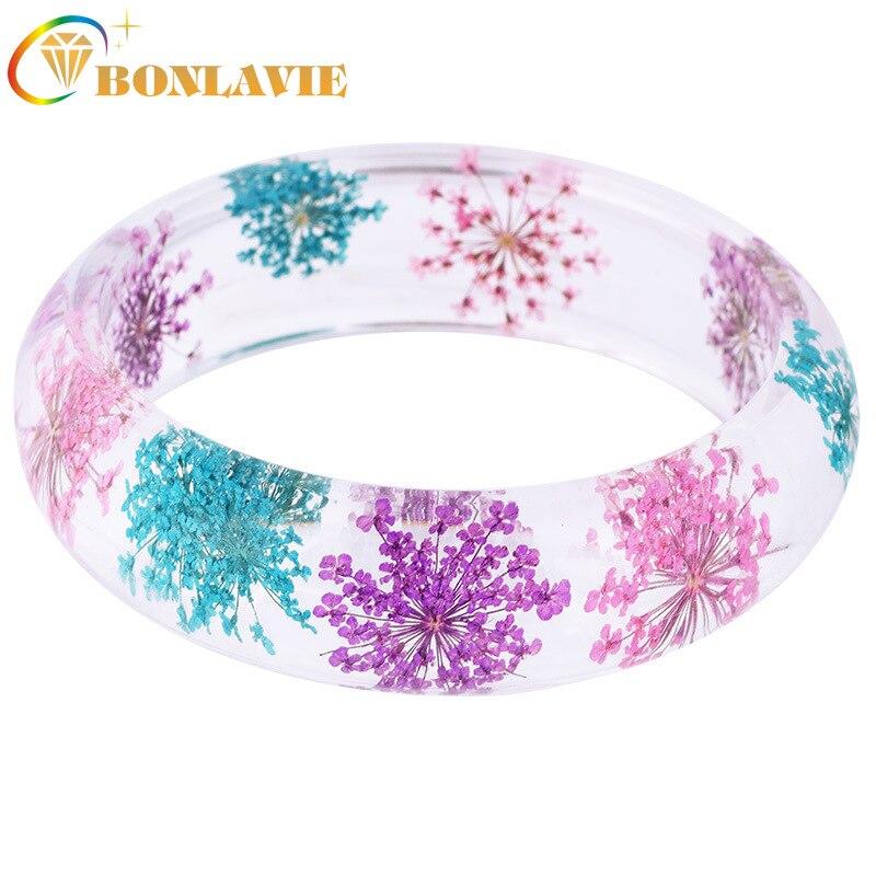 Pulsera BONLAVIE de resina para mujer, brazalete de flores secas, pulsera de herbario de flores de encaje Natural, pulsera de cristal transparente