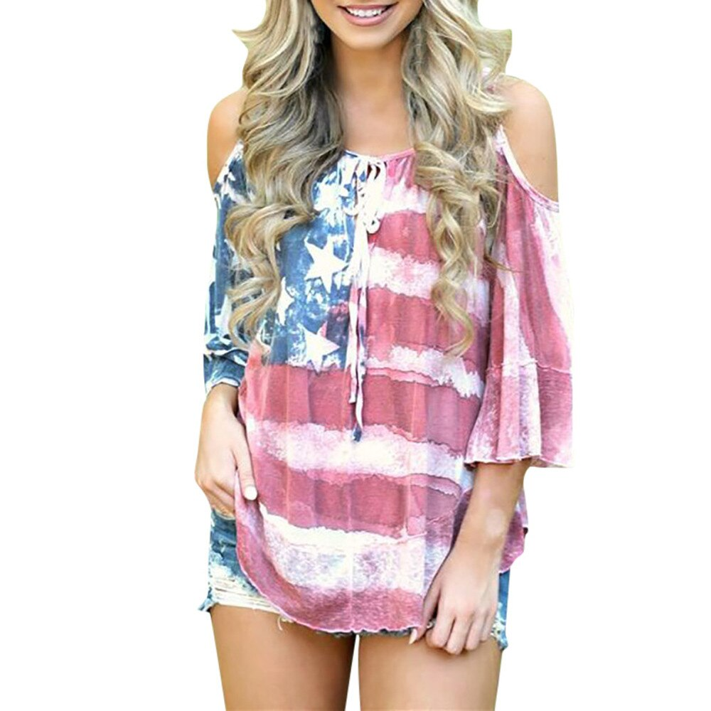Letnia koszulka damska flaga ameryki luźna 4-of-lipiec Off Shouder koszulka luźne góra Plus rozmiar koszulki w stylu Casual kobieta женская летняя