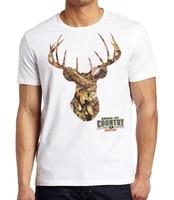 mens summer fashoin mossy oak camo deer headwhite t shirt white