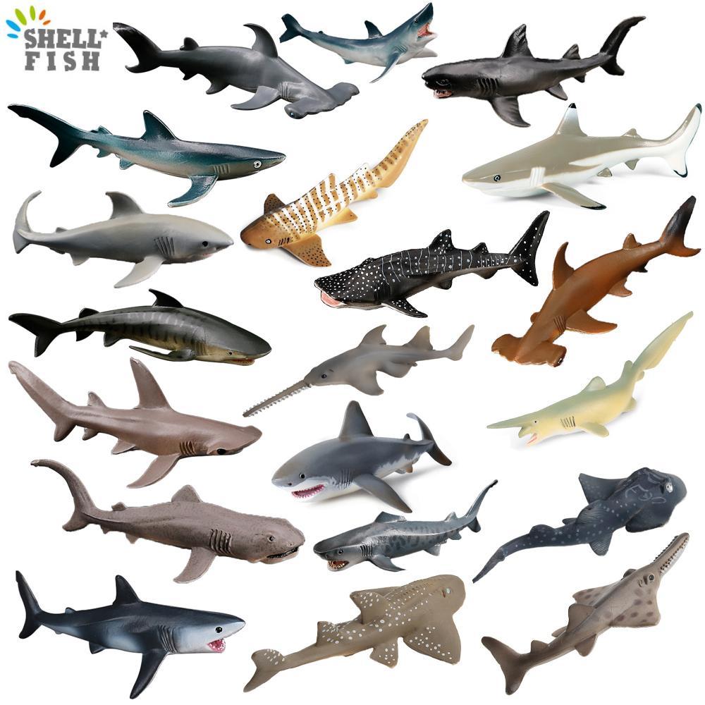 Simulation Sea Ocean Life Animal Model Toys Shark Megalodon Hammerhead Shark Tiger Shark Action Figure Children Education Gifts shark