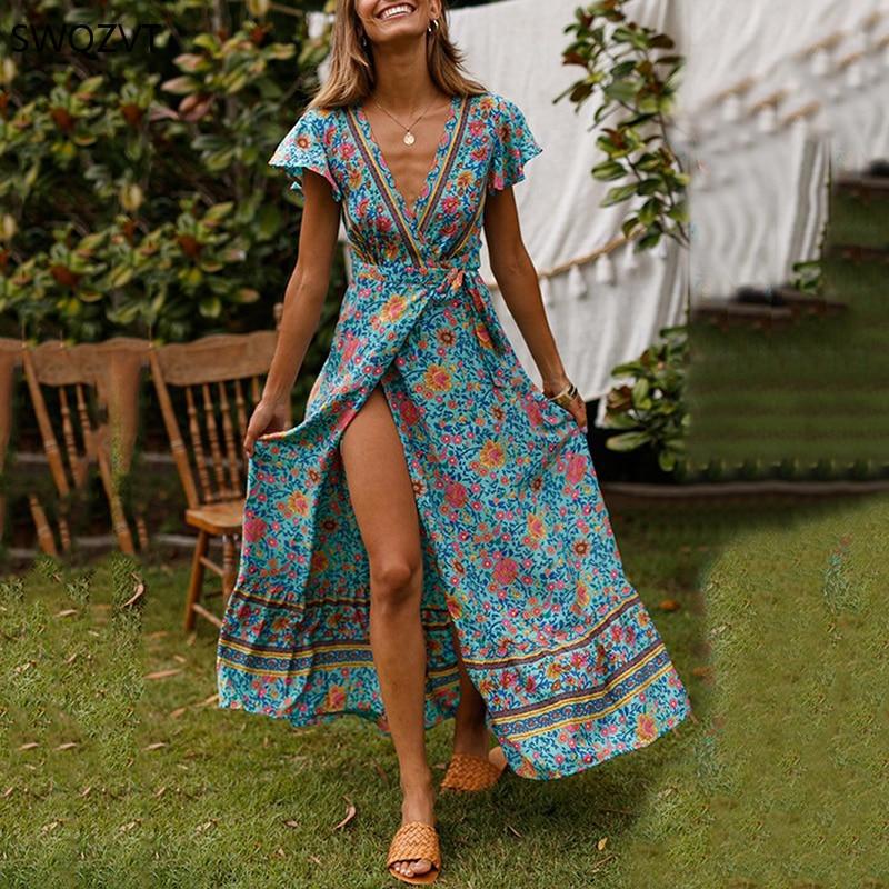 2020 Summer Women Dress Fashion Print V-neck Front Split  floral dresses Casual Short Sleeve Women Long Maxi Dress Party Dresses