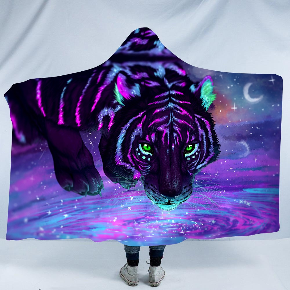 Dieren Majesteit Purple Tiger Hooded Deken Coral Fleece Hoodie Deken Winter Gedrukt Hone Reizen Mantel Gooi Dekens
