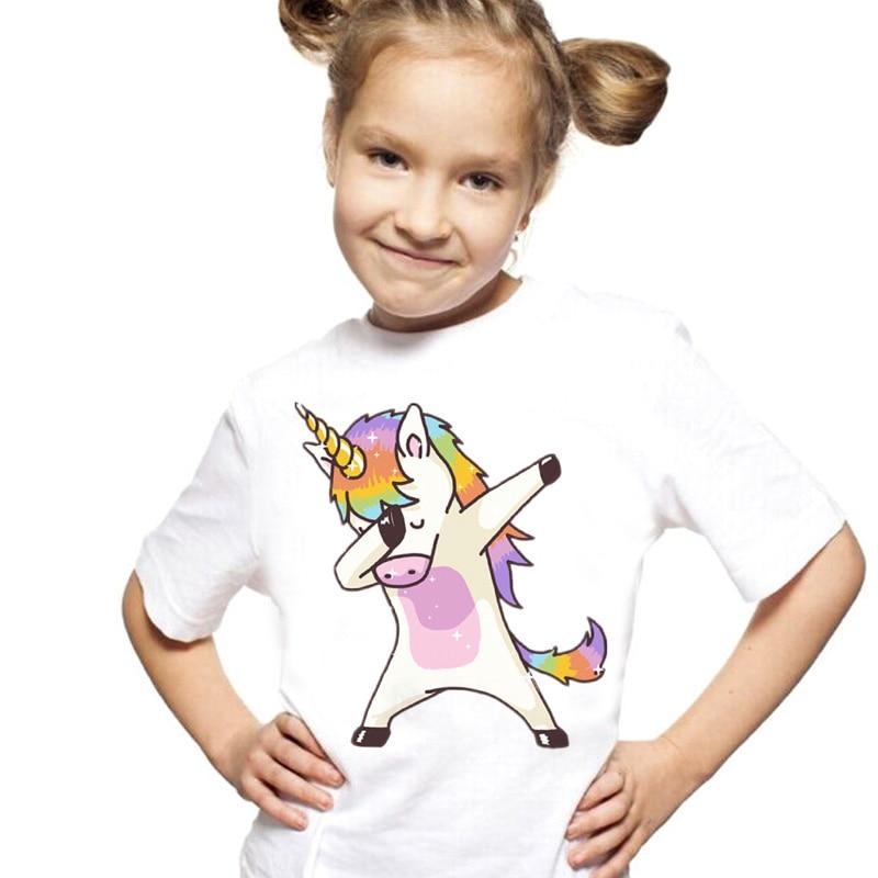 Neue Ankunft T Shirt Mädchen Sommer Vintage Ästhetik Einhorn Mädchen T Shirt Oansatz Kurzarm Kleinkind Mädchen Tops T Kleidung teen