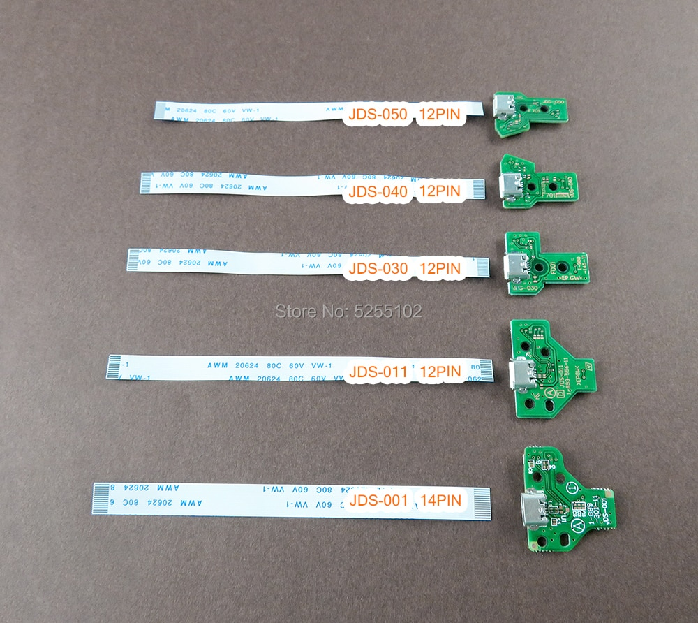 2 uds = 1 Juego para PS4 Pro Slim controlador puerto de toma de carga JDS 001 001 030 040 050 con 12 14 Pin Cable de alimentación Flex