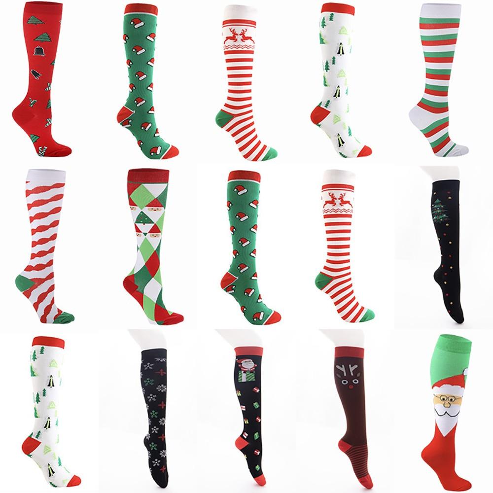 Christmas Compression Socks Stockings Nurse Edema Diabetes Varicose Veins Outdoor Men Women Running Hiking Sports Working Socks