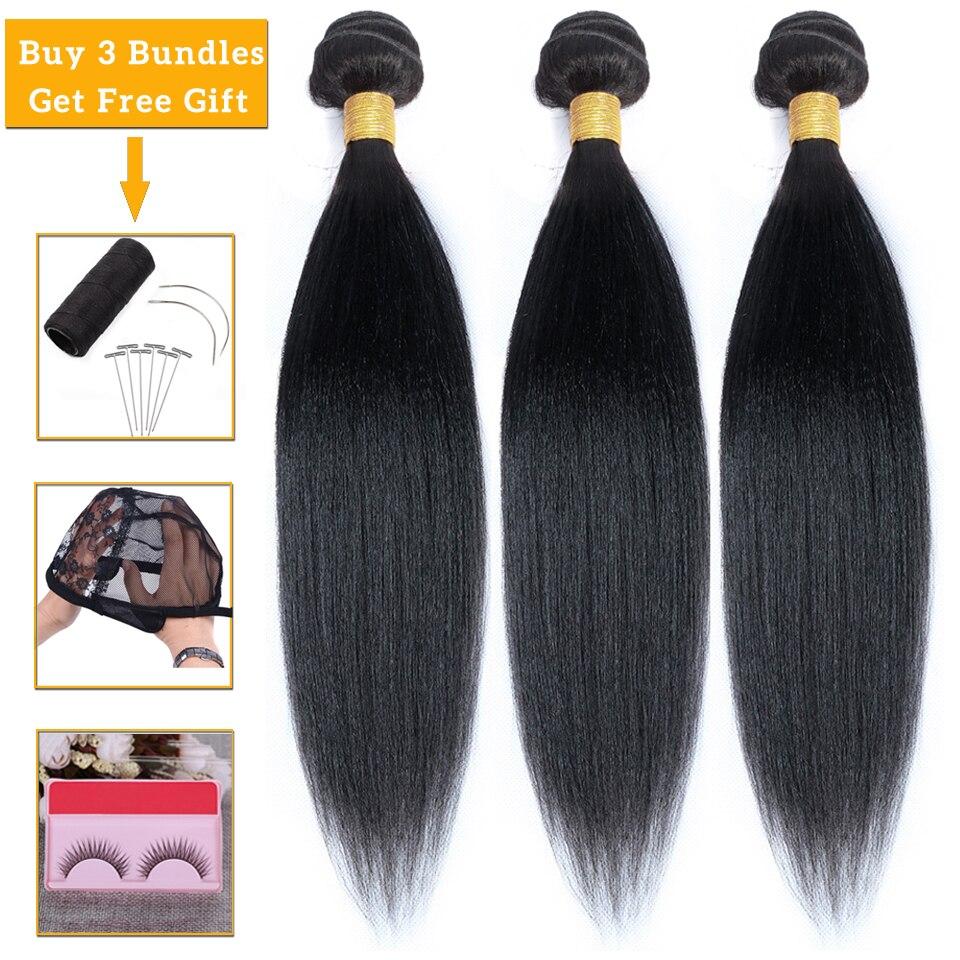 Lanqi luz yaki 100% pacotes de cabelo humano ofertas kinky feixes de cabelo reto não remy extensões de cabelo brasileiro tecer pacotes